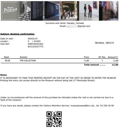 Booking confirmation Museu Picasso  63345    mika.seino gmail.com   Gmail