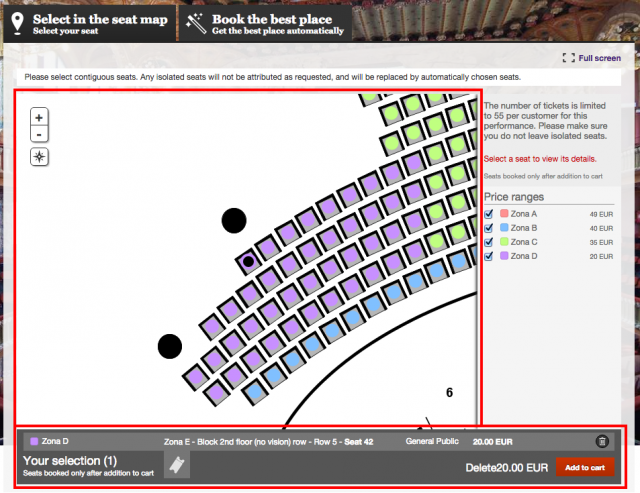 Seat selection on map2