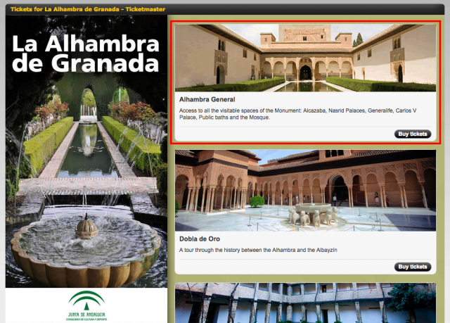 Tickets for La Alhambra de Granada   Ticketmaster   Ticketmaster.es
