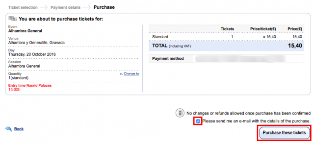 Ticketmaster.es   Ticket sale   Purchase   Step 3   Purchase