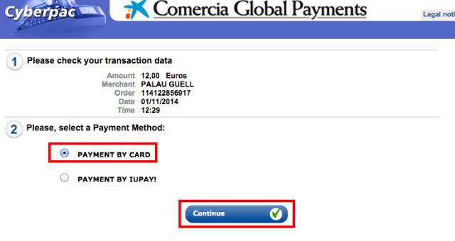 Virtual TPV Payment form
