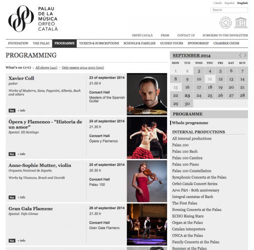 Programming   Palau de la Música Catalana